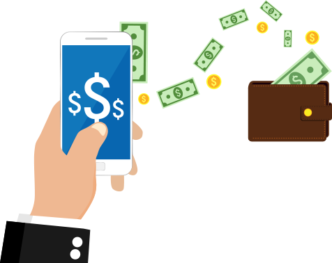 Mobile lending phone and wallet graphic